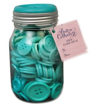 Button Collector Mason Jar-Teal Ombre