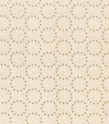 Patriotic Cotton Fabric 43''-Metallic Star Circles on Cream
