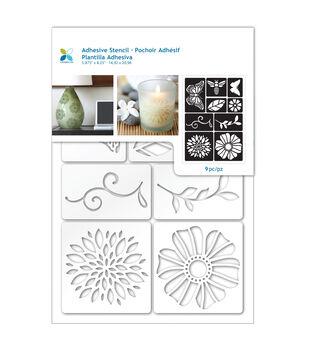 Momenta 9 pk Adhesive Stencils-Flowers & Bugs