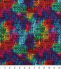 Novelty Cotton Fabric -Dog Words on Tie Dye