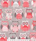 Anti-Pill Plush Fleece Fabric-Blush Owls on Gray