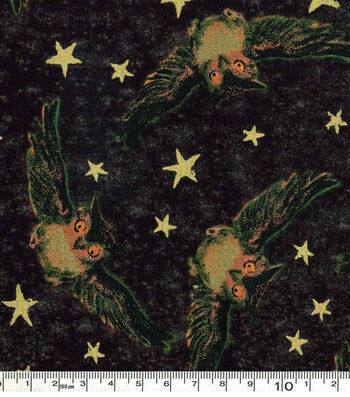 "Halloween Costume Fabric 43""-Owls And Stars"
