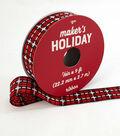 Maker\u0027s Holiday Textured Ribbon 7/8\u0027\u0027x9\u0027-Red, Black & White Plaid