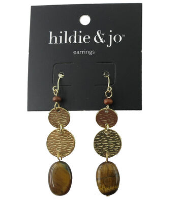 hildie & jo 0.13''x0.63'' Hammered Gold Dangle Earrings