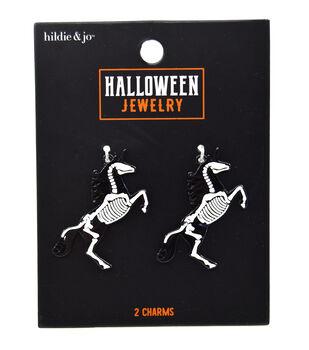 hildie & jo Halloween Jewelry 2 pk Unicorn Skeleton Charms