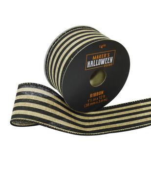 Maker's Halloween Decor Ribbon 1.5''x12'-Tan & Black