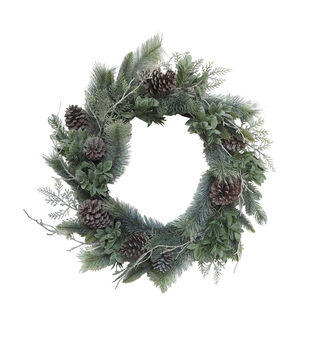 Handmade Holiday Flocked Water Resistant Pine & Pinecone Outdoor Wreath