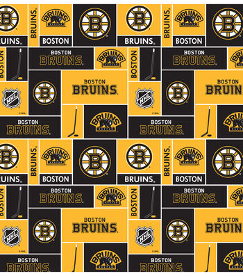 Boston Bruins Cotton Fabric 43''-Block