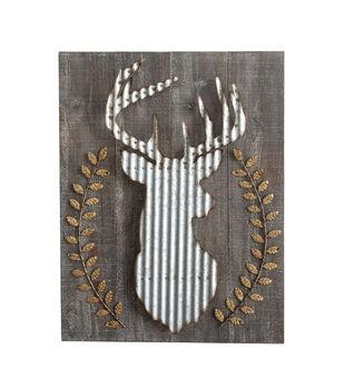 Wood & Corrugated Metal Deer Wall Decor