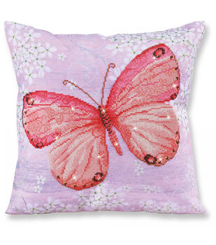 Diamond Dotz Decorative Pillow Kit-Papillon Abricot