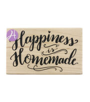Hampton Art 3.25''x2'' Wood Mounted Rubber Stamp-Happiness is Homemade, , hi-res