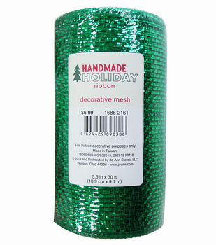 Handmade Holiday Metallic Decorative Mesh Ribbon 5.5''x30'-Green