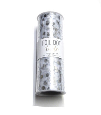 Save The Date Foil Dot Tulle 6''x10 yds-Silver