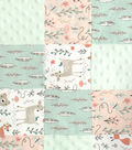 Nursery Flannel Fabric -Patch Quilt Woodland