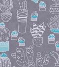 Snuggle Flannel Fabric 42\u0022-White Cactus On Gray