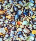 Novelty Cotton Photo Real Fabric -Seashells