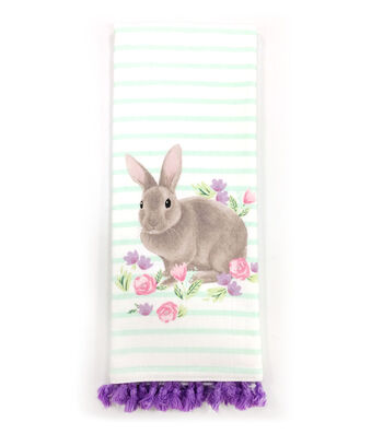 Easter 28''x16'' Towel-Bunny on Stripes