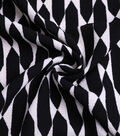 Silky Stretch Textured Crepe Fabric-Black & Ivory Prism