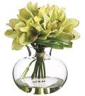 Cymbidiums in Glass Vase 10\u0027\u0027-Green & Burgundy
