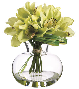 Cymbidiums in Glass Vase 10''-Green & Burgundy