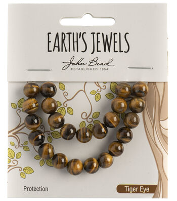 Earth's Jewels Semi-Precious Round 8mm Beads-Tiger Eye Natural