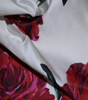 Gianna Silk Blend Printed Taffeta Fabric-Large Floral on White