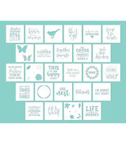 "Hampton Art 12""x12"" Card Stock Stencils-Phrases, , hi-res"