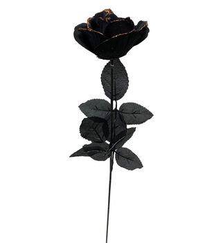 Maker's Halloween Black Rose Stem with Orange Glitter