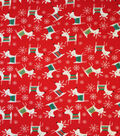 Doodles Christmas Cotton Fabric 57\u0022-Red & White Reindeer