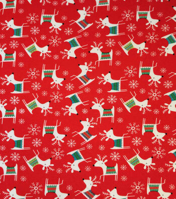 "Doodles Christmas Cotton Fabric 57""-Red & White Reindeer"