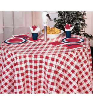 Creative Converting 82'' Plastic Round Table Cover-Red Gingham