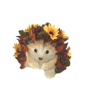 Simply Autumn Large Woodchip Hedgehog with Sunflowers