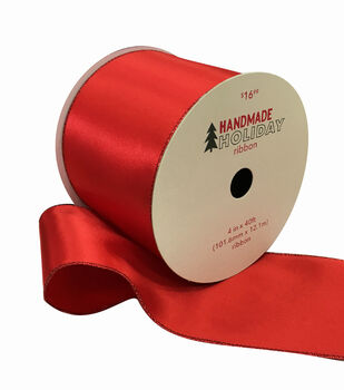 Handmade Holiday Christmas Satin Ribbon 4''x40'-Red