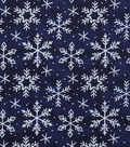 Christmas Textured Cotton Fabric-Snowflakes on Blue