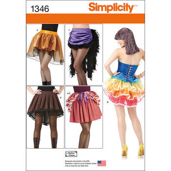 Simplicity Pattern 1346-Misses' Costume Skirts and Bustles