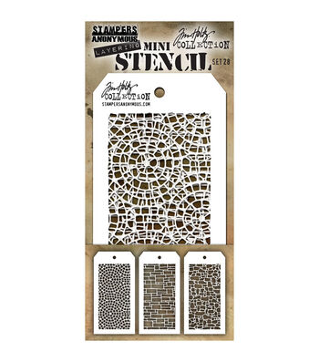 Stampers Anonymous Tim Holtz 3 Pk Mini Layering Stencil Set #28