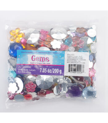 Assorted Shapes Color Gems 7.05oz Bag