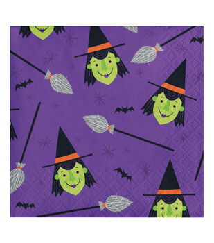 Maker's Halloween 20 pk 5''x5'' Beverage Napkins-Witches