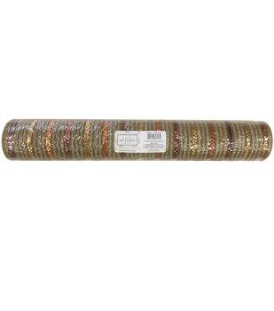 Simply Autumn Decor Decorative Mesh 21''x30'-Natural & Metallic