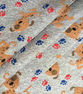 Doodles Cotton Interlock Knit Fabric-Heather Gray Puppies & Paw Prints