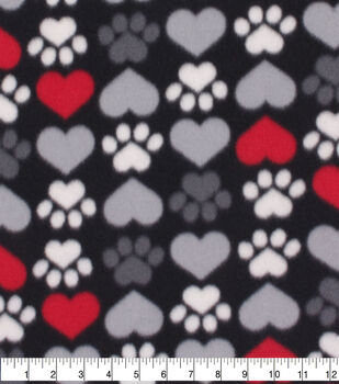 Valentine's Day Blizzard Fleece Fabric-Paw Prints & Hearts on Black