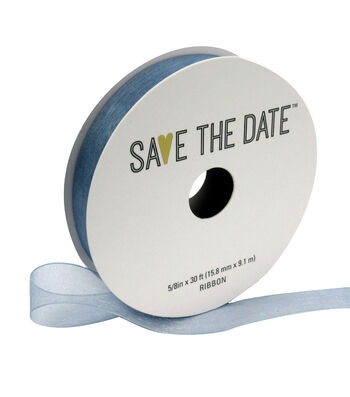 """Save the Date 5/8"""" x 30ft Ribbon-Grey Blue Sheer"""