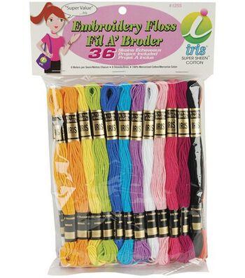Janlynn Cotton Embroidery Floss Pack 8.7 Yards 36/Pkg-Pastel Colors