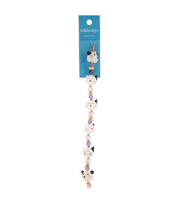 """hildie & jo 7"""" Crystal Glass Cat & Mouse Strung Beads"""