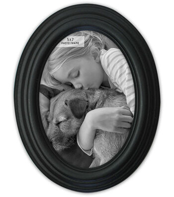 Oval Photo Frame 5''x7''-Distressed Black