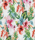 Novelty Cotton Fabric 44\u0022-Watercolor Tropical Hibiscus