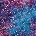 Batik Cotton Fabric-Metallic Gold Swirls on Blue & Purple