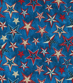 Patriotic Cotton Fabric-Multi Layer Stars on Blue