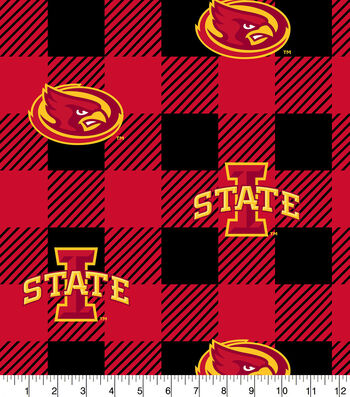 Iowa State Cyclones Fleece Fabric-Buffalo Plaid