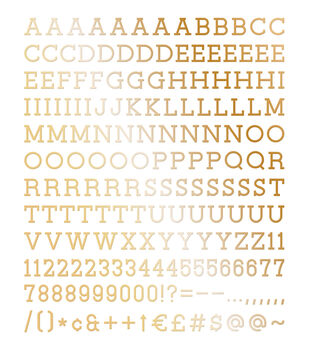 DCWV Home 188 Pack 1'' Letters-Gold
